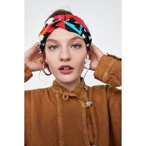 zara   printed turban-style headband hairband